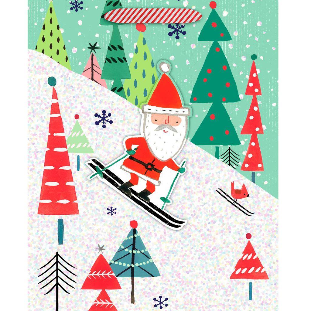 skiing santa medium christmas gift bag 95