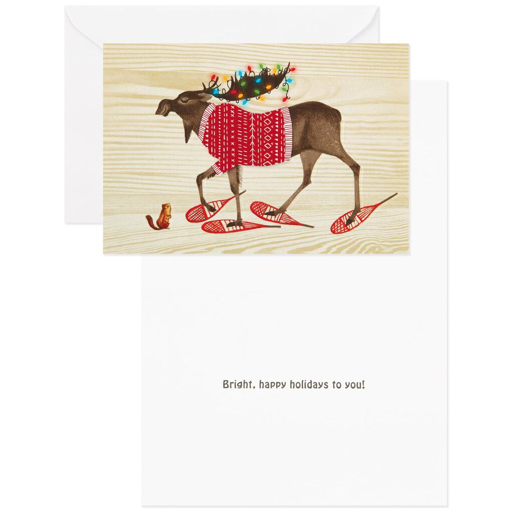 UNICEF Festive Moose Christmas Cards, Box of 12 - Boxed Cards - Hallmark