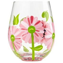 Lolita® Oops A Daisy Hand-Painted Stemless Wine Glass, 20 oz., , large