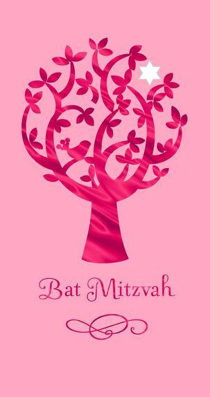 Pink Tree Bat Mitzvah Congratulations Money Holder Card