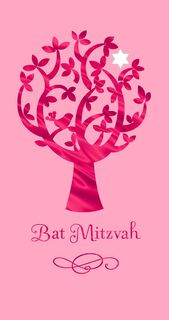 Pink Tree Bat Mitzvah Congratulations Money Holder Card,