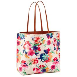 Mark & Hall Reversible Tote in Tan/Floral, , large