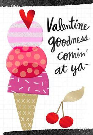 Ice Cream Cone Valentine's Day Card