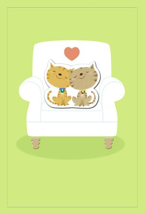 Two Snuggling Cats Romantic Love Card