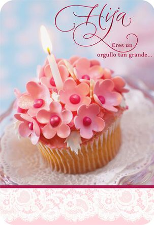 Pink Cupcake Spanish-Language Daughter Birthday Card