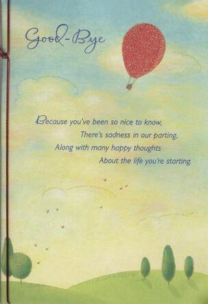 Hot Air Balloon in Sky Goodbye Card