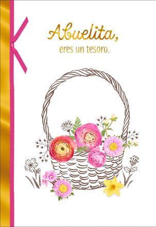 Flower Basket Spanish-Language Birthday Card for Grandma