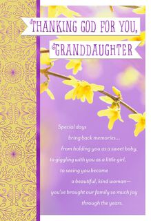 Thanking God for You Religious Easter Card for Granddaughter,
