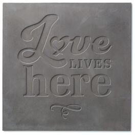 Love Lives Here Stamped Concrete Sign, 14x14, , large