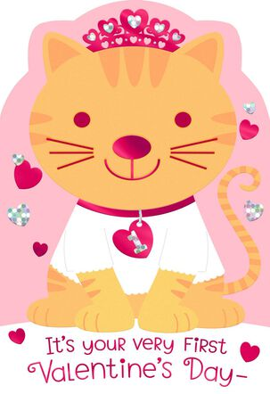 Princess Cat First Valentine's Day Card for Baby Girl