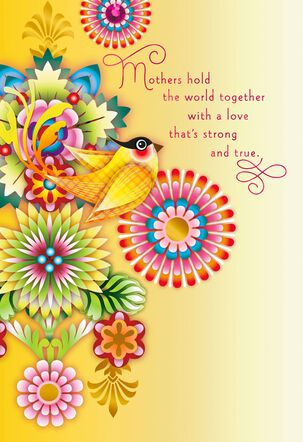 Catalina Estrada Yellow Bird and Flowers Mother's Day Card
