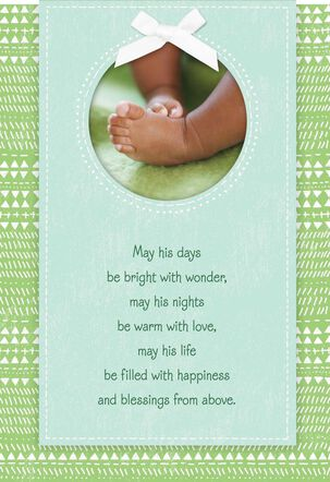 Tiny Blessings Religious New Baby Boy Card