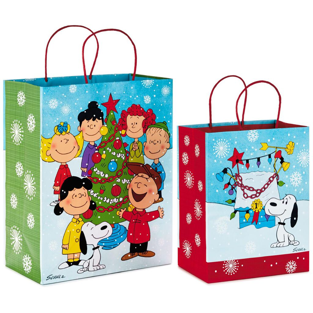 Christmas Gift Bags.Peanuts Gang Large And Medium 2 Pack Christmas Gift Bags