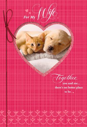 Dog and Cat Valentine's Day Card for Wife