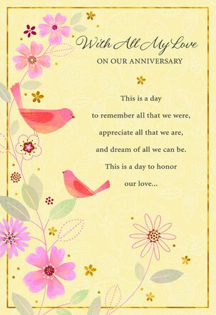 All My Love Birds on Yellow Anniversary Card