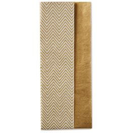 Gold and Chevron Pattern 2-Pack Tissue Paper, 6 Sheets, , large