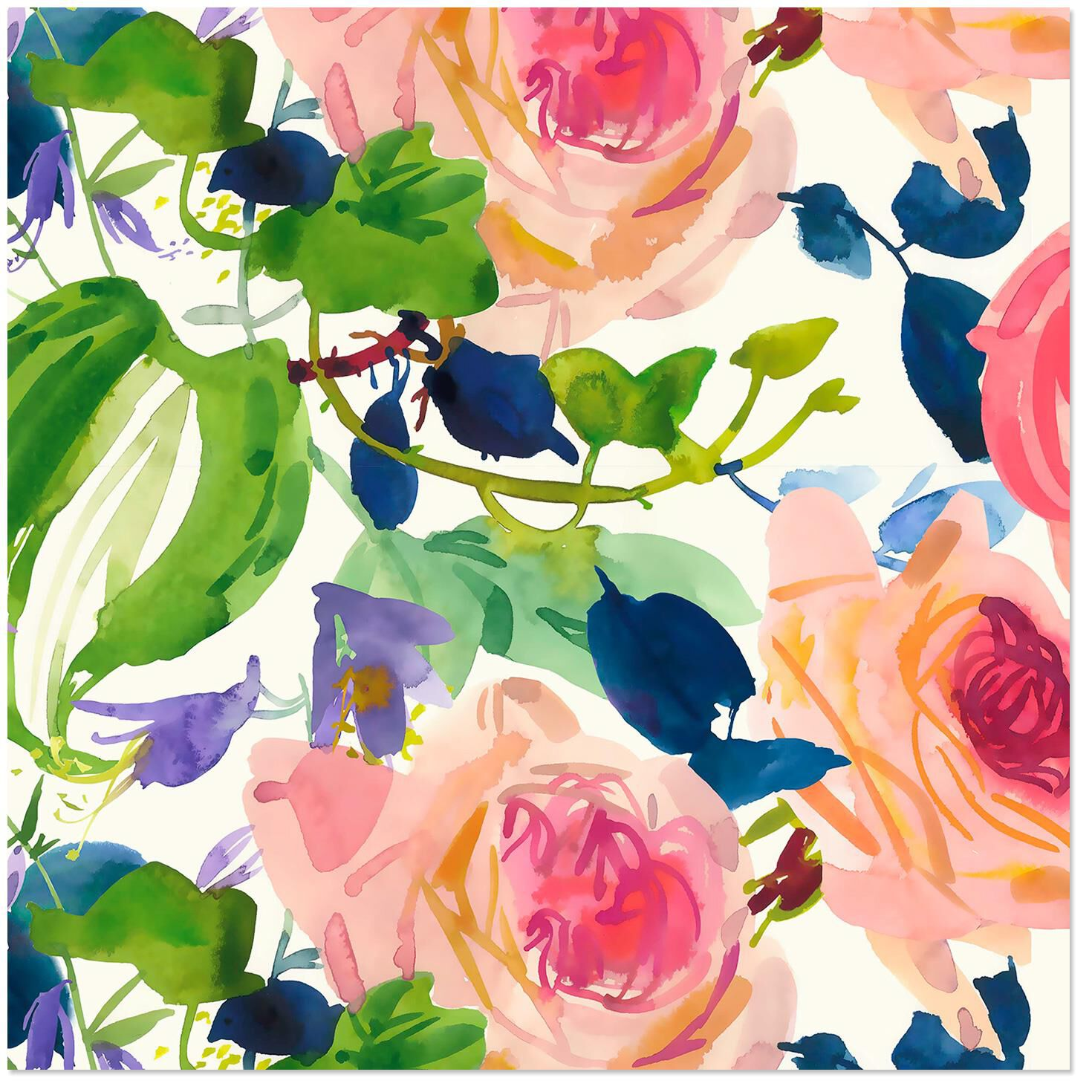 Watercolor Floral Wrapping Paper Roll 27 Sq Ft