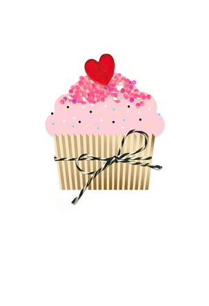 Cupcake With Sprinkles Valentine's Day Card