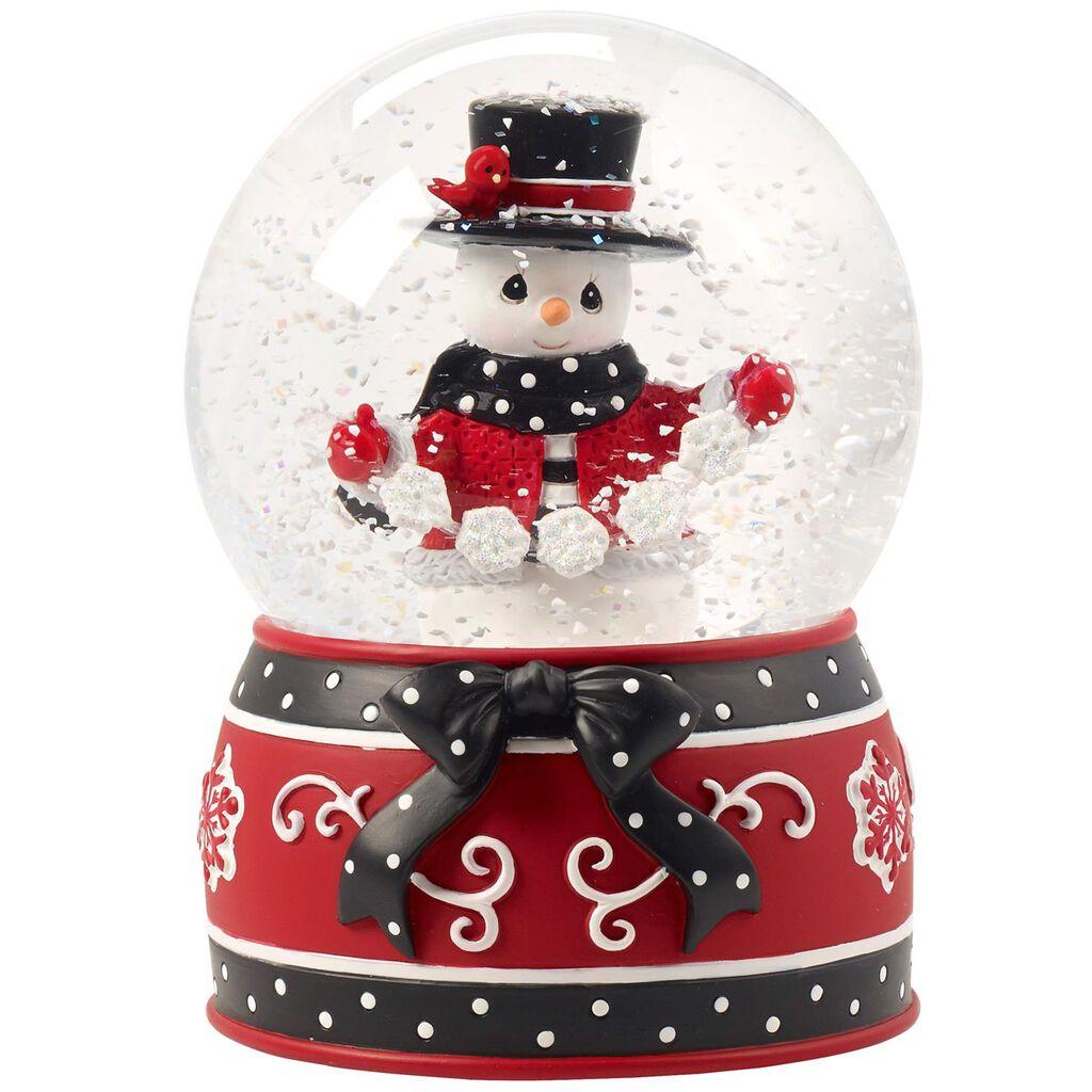 Precious Moments White Christmas Snowman Musical Snow Globe 8th In Series