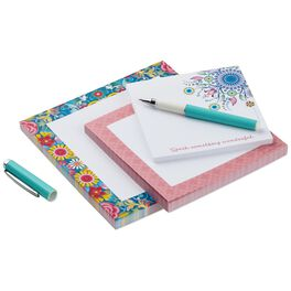 Catalina Estrada Blue Floral Memo Pads With Pen, Set of 3, , large