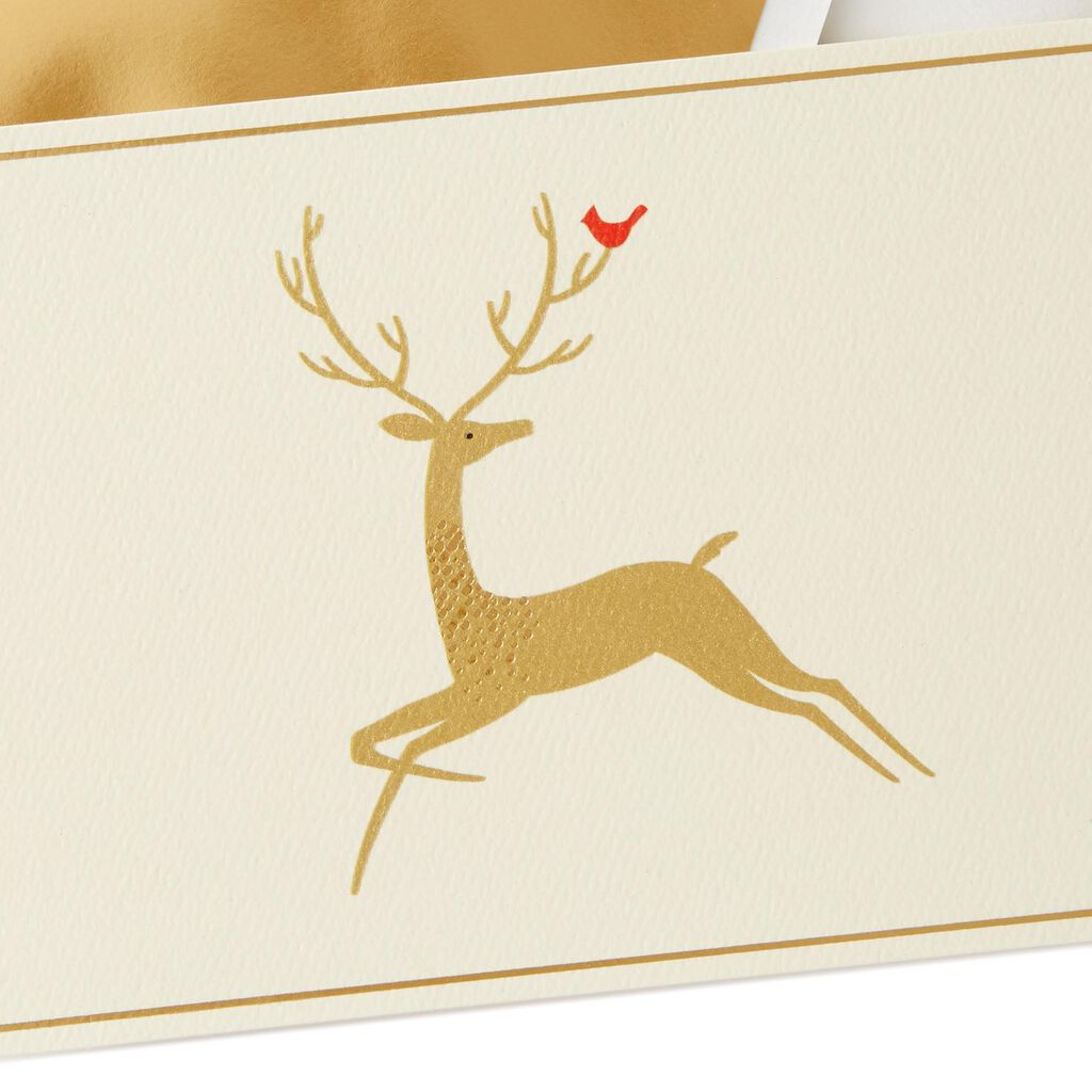 Gold Reindeer Christmas Cards, Box of 10 - Boxed Cards - Hallmark