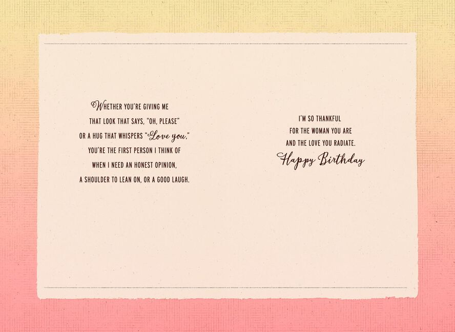 Thankful For The Woman You Are Birthday Card For Sister Greeting