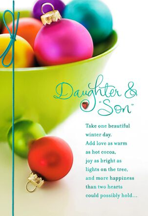 Colorful Ornaments Christmas Card for Daughter and Son-in-Law
