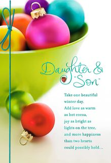 Colorful Ornaments Christmas Card for Daughter and Son-in-Law,