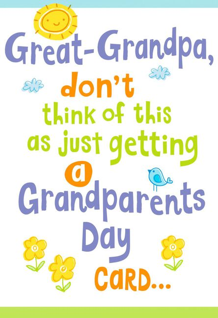 a big hug for you grandparents day card for great grandpa greeting