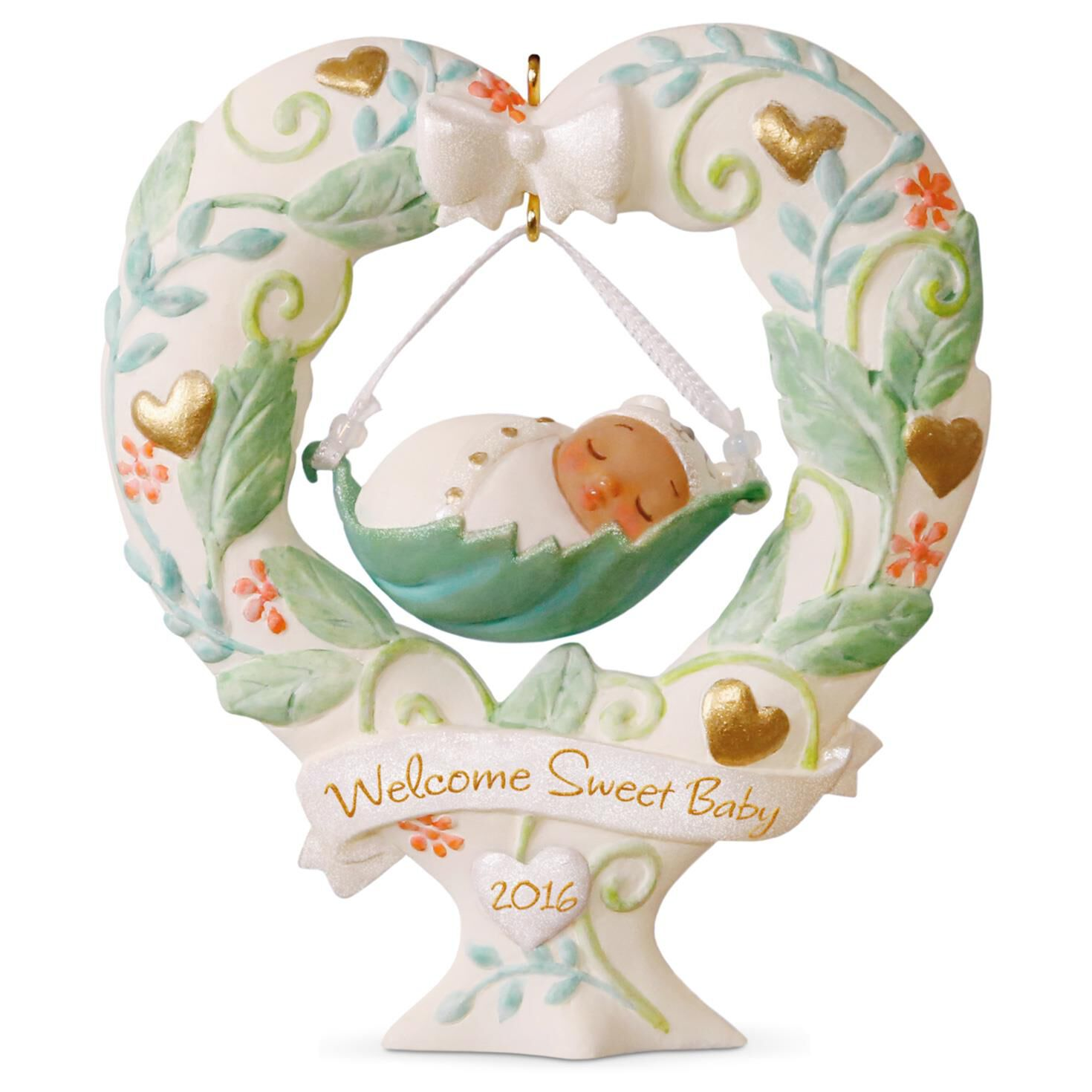 Baby s First Christmas Heart Shaped Baby Swing Ornament Keepsake
