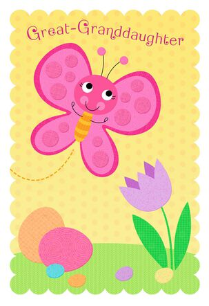 Pink Butterfly Easter Card for Great-Granddaughter