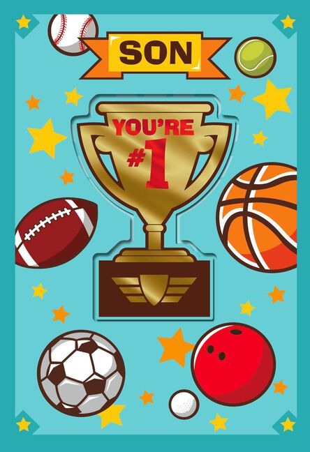 1 son sports trophy birthday card with magnet greeting cards 1 son sports trophy birthday card with magnet m4hsunfo