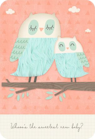 Big Owl, Little Owl New Baby Card