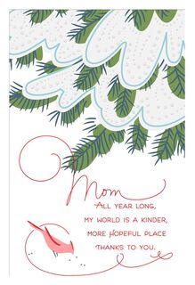 Bird and Evergreen Christmas Card for Mom,