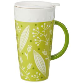 Green Ceramic Travel Mug With Infuser and Lid, 13 oz., , large