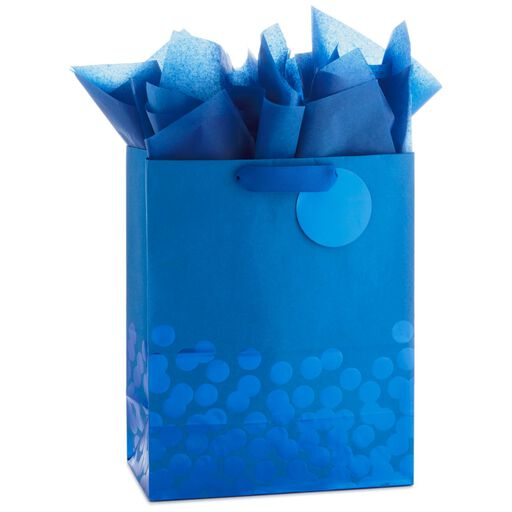 Blue Foil Dots Large Gift Bag With Tag And Tissue 13