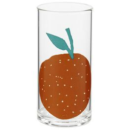 Illustrated Orange Glass Tumbler, 12 oz., , large