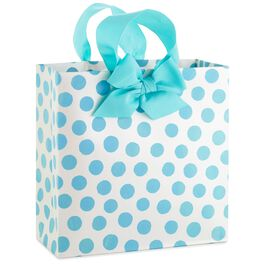 "Blue Dots Large Square Gift Bag, 10.25"", , large"