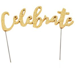 Mud Pie® Celebrate Gold Glitter Cake Topper, , large