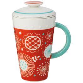 Orange Ceramic Mug With Tea Infuser and Lid, 10 oz., , large