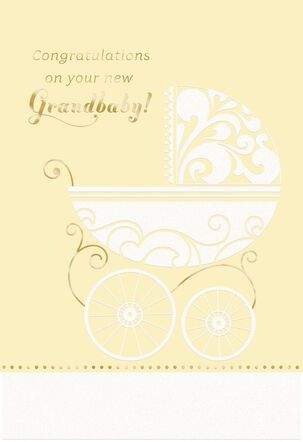 Baby Carriage New Baby Card for Grandparents