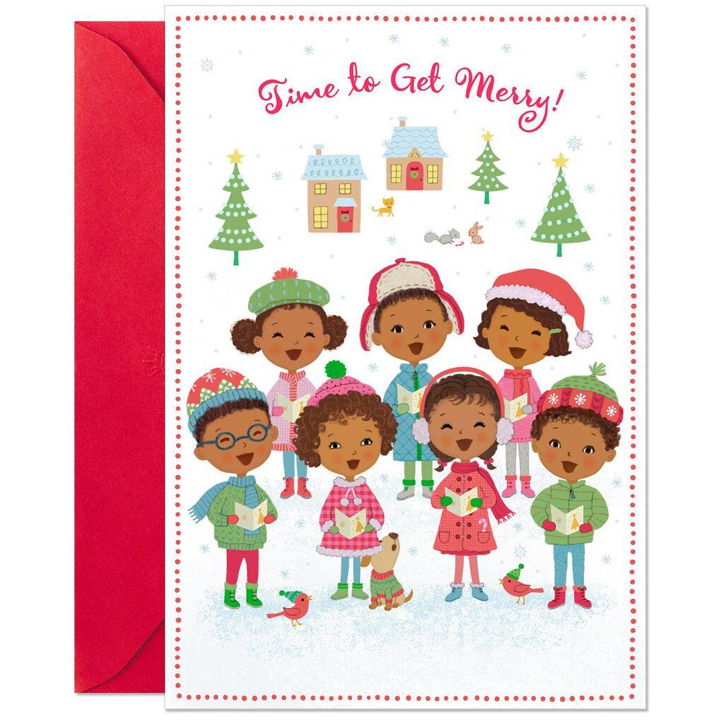 Merry Caroling Children Musical Christmas Card - Greeting Cards ...