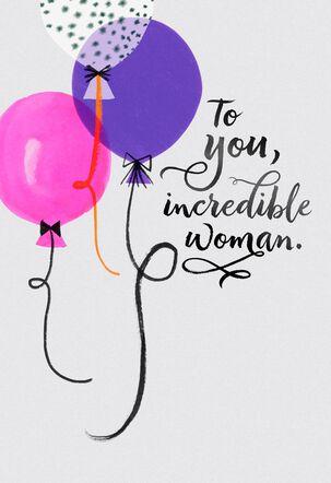 Jill Scott Balloons for an Incredible Woman Birthday Card