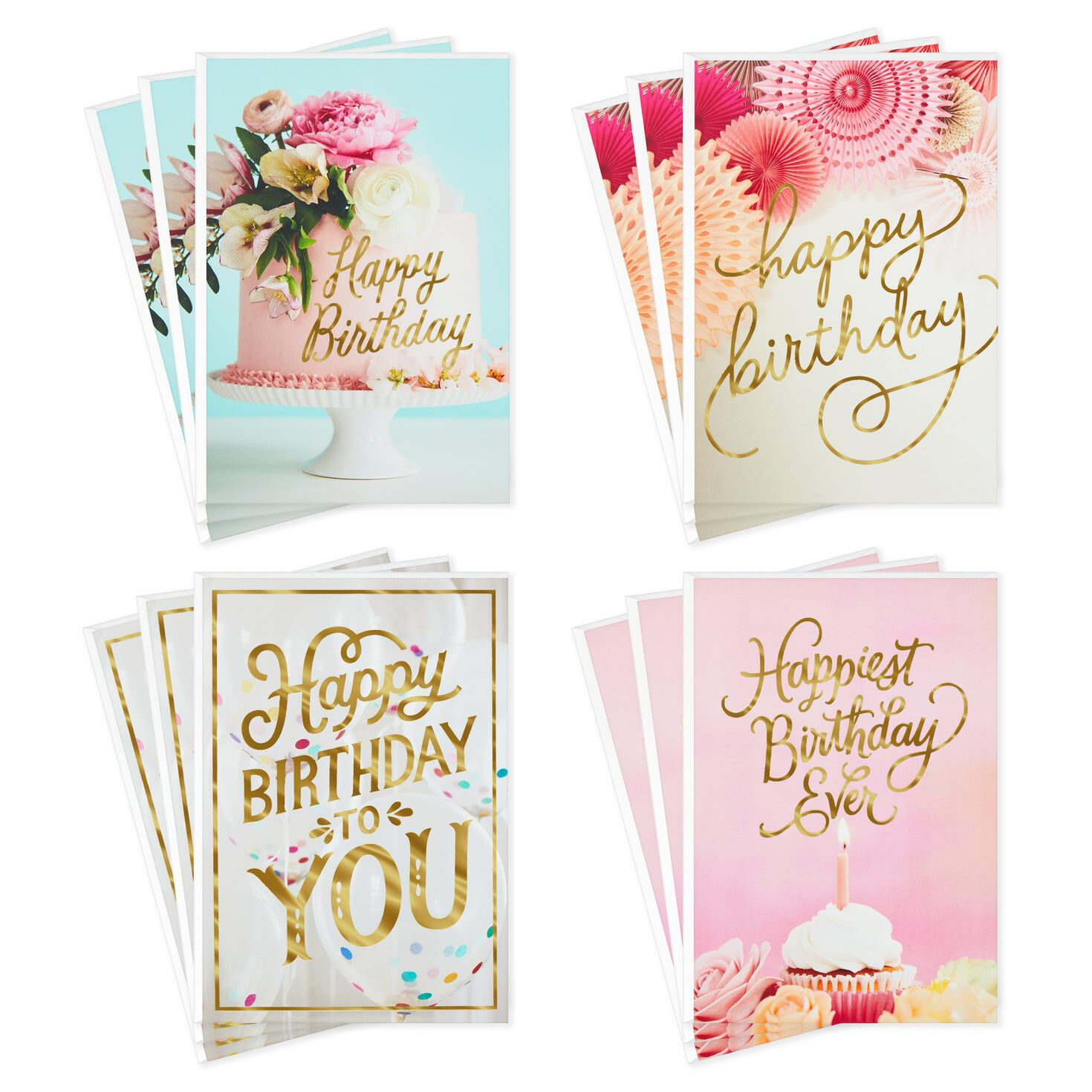 Assorted Happy Birthday Cards, Pack of 8