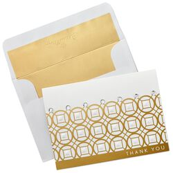 circles with rhinestones thank you cards box of 8 large