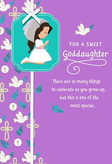 Girl in Veil First Communion Religious Card for Goddaughter,