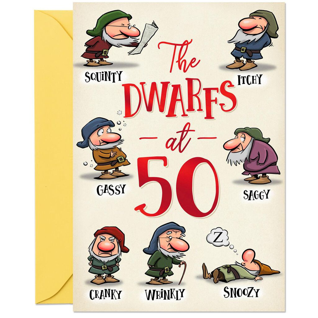 Funny Dwarfs 50th Birthday Card