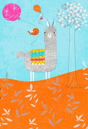 Llama Laughter and Love Birthday Card