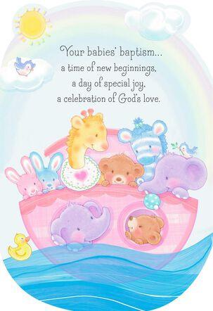 Noah's Ark Baptism Card for Multiples