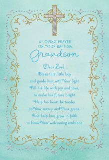 Blue Cross Baptism Card for Grandson,
